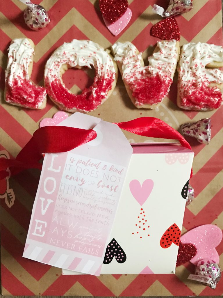 "LOVE cookies with cookie gift box and ombre tag - - Anything ombre is a fan favorite these days!  For a trendy sweet Valentine's Day treat, try these Ombre LOVE Sugar Cookies - with a free printable ombre ""Love is Patient & Kind"" gift tag to match!"