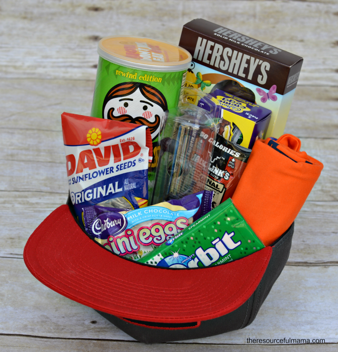 Teen baseball hat Easter basket - If you are looking for something fun and creative and out of the box to use as Easter basket that is not actually a basket, here are 45 brilliant Easter basket ideas that every kid in your house will love!