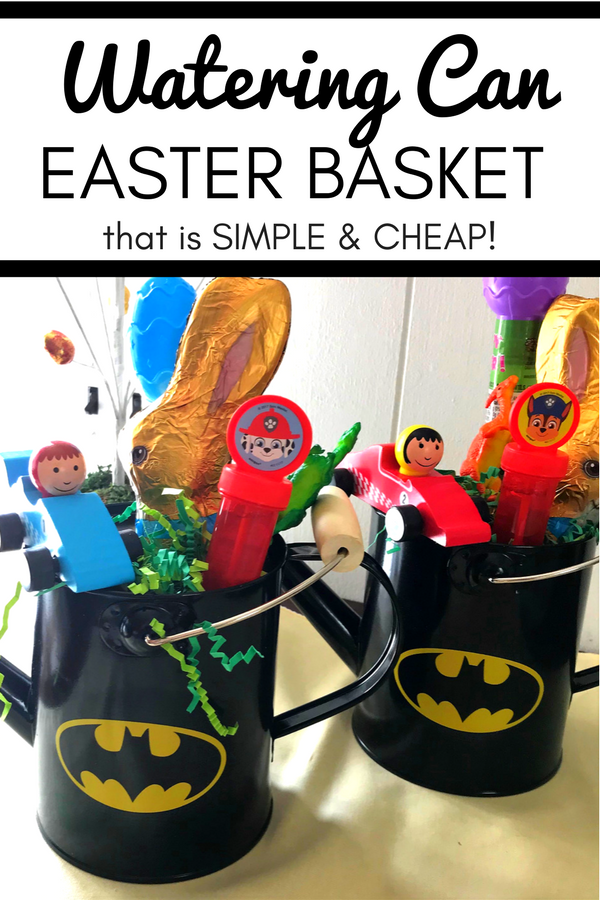 simple cheap watering can easter basket idea