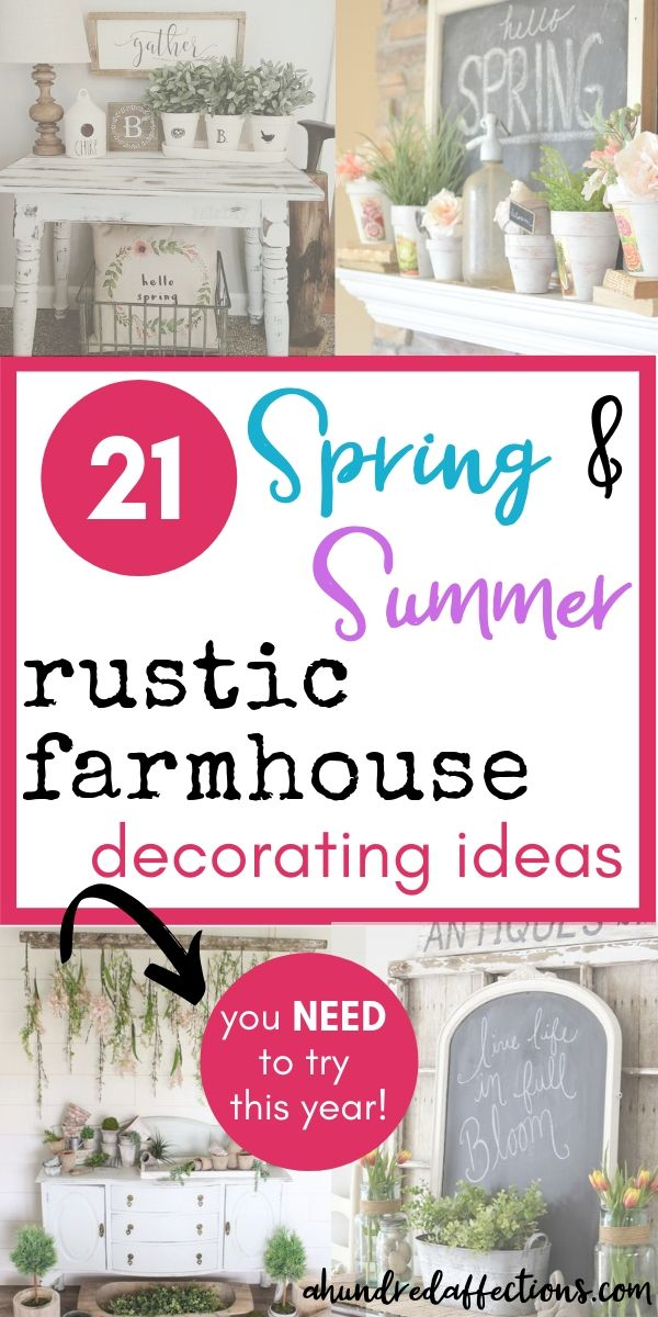 21 spring and summer rustic farmhouse decorating ideas you need to try this year, collage, distressed tablte with terra cotta pots and brown and white decor, mantel with terra cotta pots with pink flowers and chalkboard, hanging flowers from branch style with table and terra cotta pots, old window with chalkboard on mantel styled with tulips