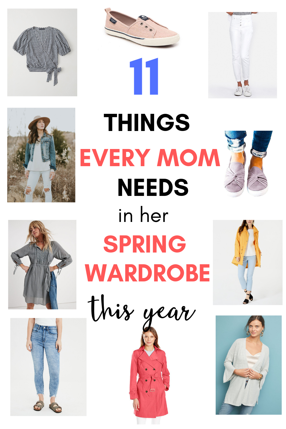 Collage spring outfit essentials for mom