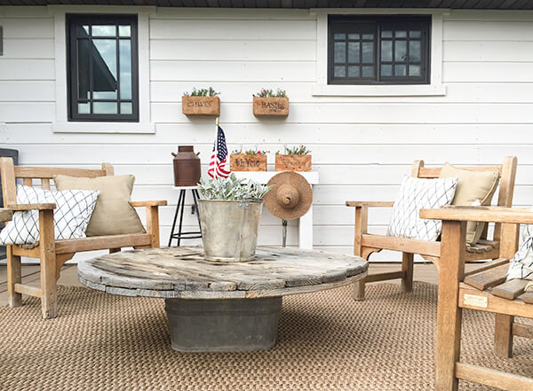 summer patio backyard coffee table chairs wood - If you are wanting a perfect space to relax and enjoy during the warm summer days, I've got your covered! Inside is EVERYTHING you need to make your backyard and patio your most favorite place the entire summer!