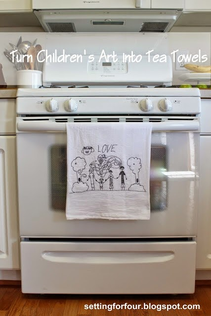 child art tea towel for grandma - With Mother's Day right around the corner, we can't forget the special woman who started it all - Grandma! Kids are so fortunate if they have a grandma in their lives.  These Mother's Day crafts for Grandma are such a heartfelt way to show her some well-deserved love!