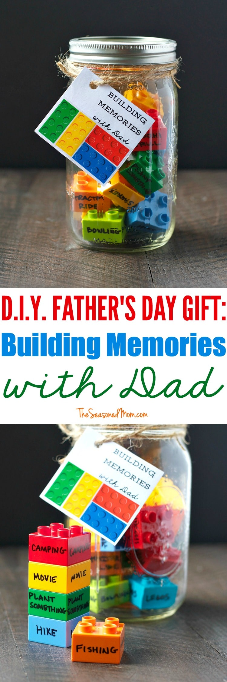 Building Memories with Dad Legos - I don't if anything warms the heart quite like a homemade gift from your kiddo! Father's Day is no exception - here are 25 homemade Father's Day gifts from kids  - and ones that Dad can actually use!  Keep reading to check them out!