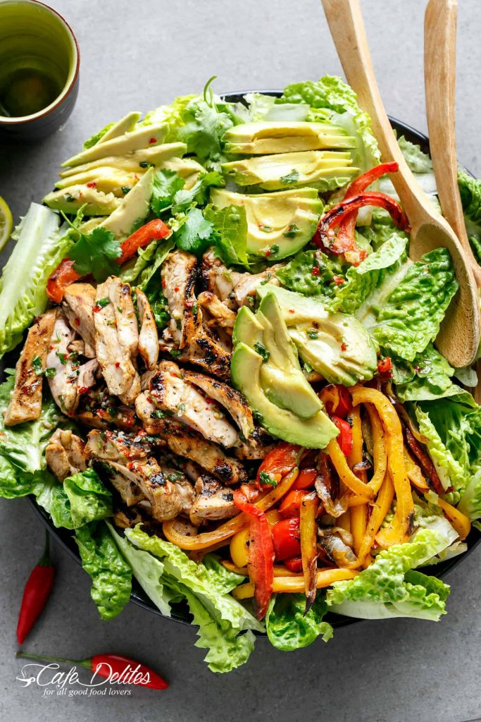 Chili Lime Chicken Fajita Salad Cafe Delites - If you are dreading the idea of cooking in a hot kitchen this summer, I've got you covered!  Take a look at these 30 refreshing summer salads! These recipes are easy, healthy and filling!  Keep reading to learn more!