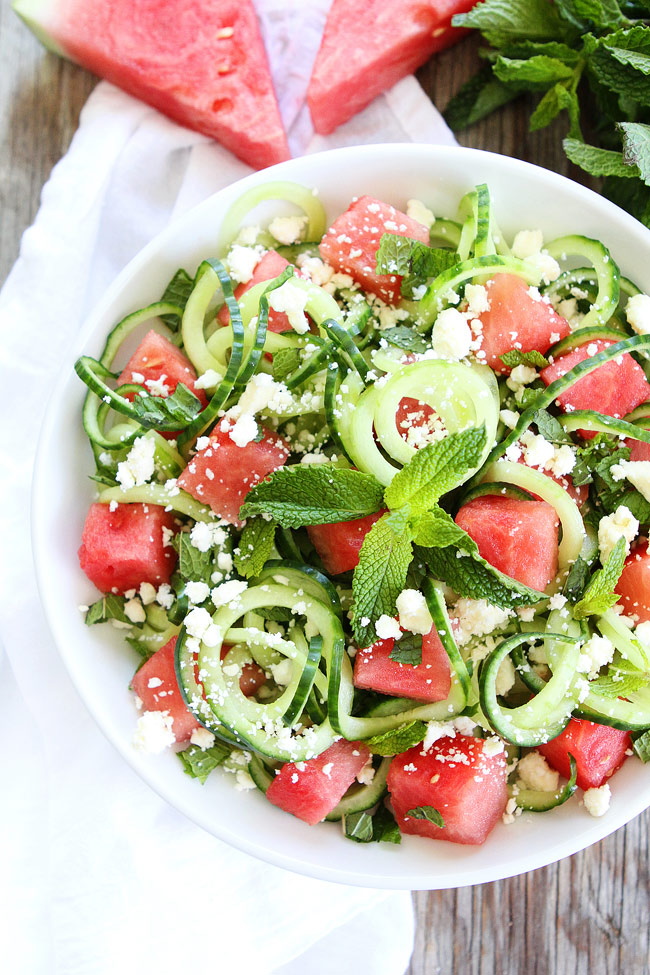 Cucumber Watermelon Feta Salad Two Peas and Their Pod - If you are dreading the idea of cooking in a hot kitchen this summer, I've got you covered!  Take a look at these 30 refreshing summer salads! These recipes are easy, healthy and filling!  Keep reading to learn more!