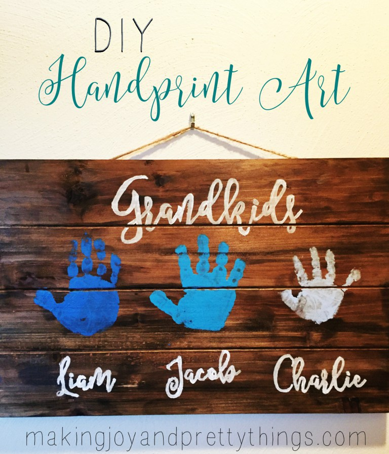 DIY handprint wooden sign for grandma - With Mother's Day right around the corner, we can't forget the special woman who started it all - Grandma! Kids are so fortunate if they have a grandma in their lives.  These Mother's Day crafts for Grandma are such a heartfelt way to show her some well-deserved love!
