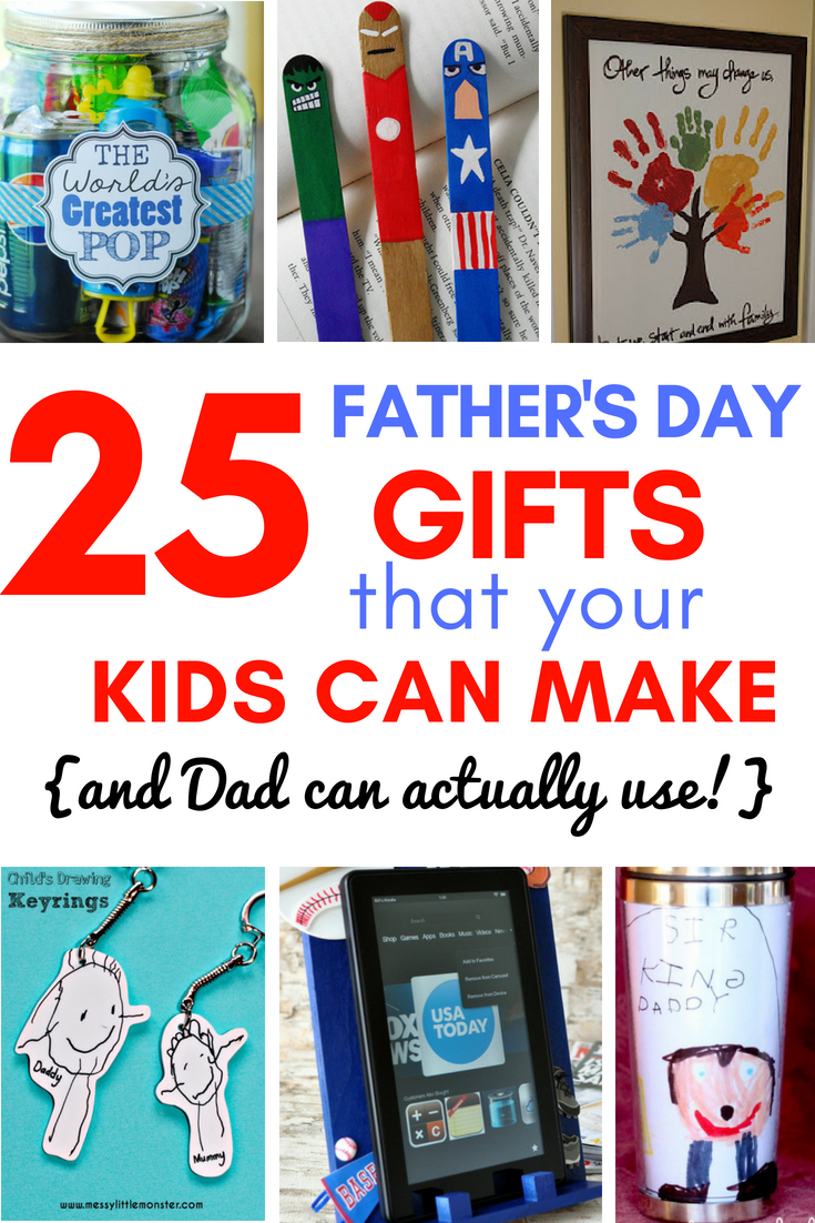 25 Father's Day Gifts from Kids - I don't know if anything warms the heart quite like a homemade gift from your kiddo! Father's Day is no exception - here are 25 homemade Father's Day gifts from kids  - and ones that Dad can actually use!  Keep reading to check them out!