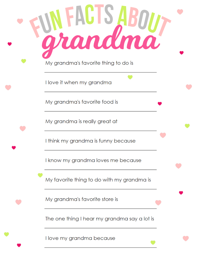 Grandma printable - With Mother's Day right around the corner, we can't forget the special woman who started it all - Grandma! Kids are so fortunate if they have a grandma in their lives. These Mother's Day crafts for Grandma are such a heartfelt way to show her some well-deserved love!