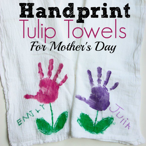 handprint tulip towels crafts for grandma - With Mother's Day right around the corner, we can't forget the special woman who started it all - Grandma! Kids are so fortunate if they have a grandma in their lives.  These Mother's Day crafts for Grandma are such a heartfelt way to show her some well-deserved love!