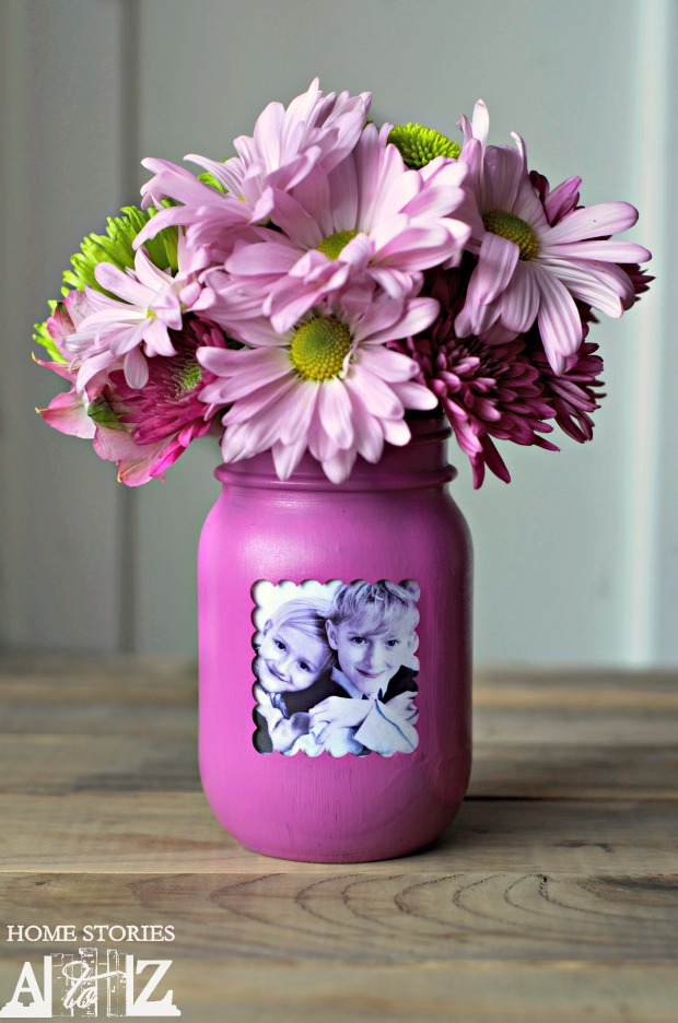 mason jar picture vase for grandma - With Mother's Day right around the corner, we can't forget the special woman who started it all - Grandma! Kids are so fortunate if they have a grandma in their lives. These Mother's Day crafts for Grandma are such a heartfelt way to show her some well-deserved love!