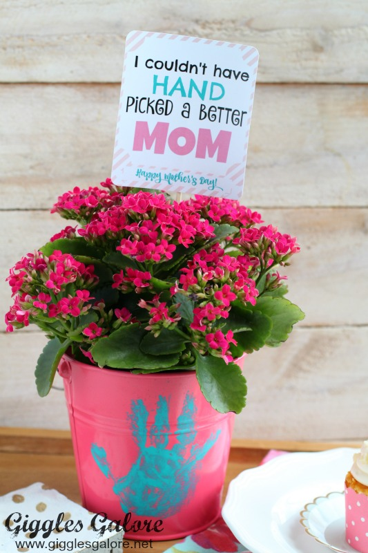 handprint flower pot craft for grandma