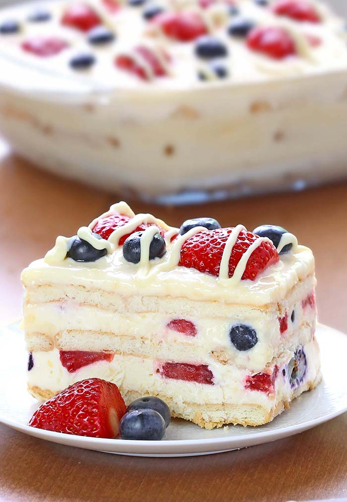 Patriotic No Bake Icebox Cake - Are you looking for easy, delicious, red-white-and-blue desserts to make for Memorial Day or 4th of July?  Here are 30 simple and NO BAKE patriotic desserts and treats you can whip up in a flash!  Keep reading to check out all of the yumminess!