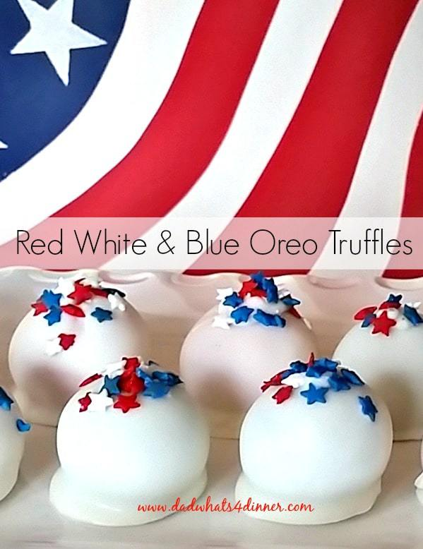 Red White Blue Oreo Truffles -white truffles with red, white, blue star sprinkles on top