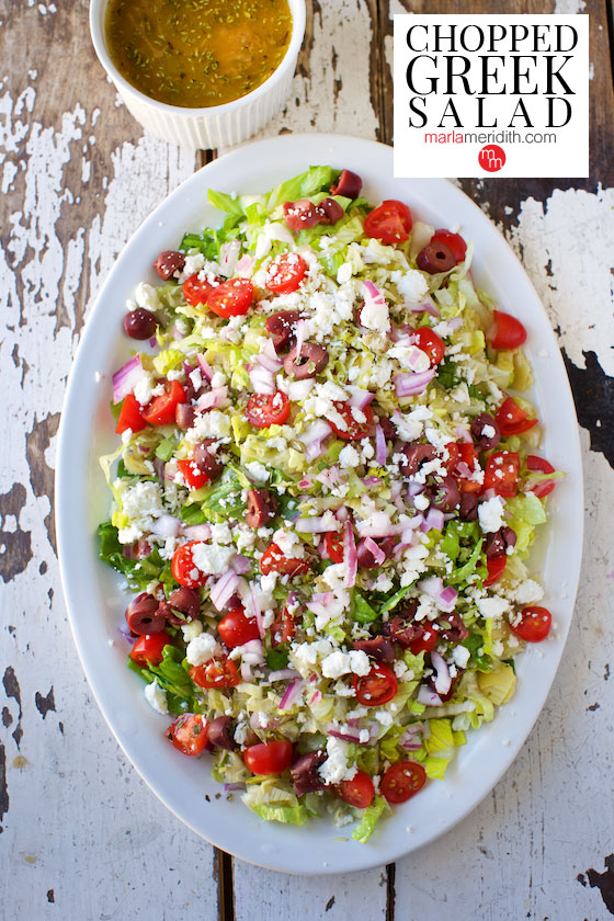 Chopped Greek Salad Marla Meridith - If you are dreading the idea of cooking in a hot kitchen this summer, I've got you covered!  Take a look at these 30 refreshing summer salads! These recipes are easy, healthy and filling!  Keep reading to learn more!