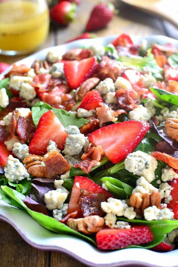 Strawberry Bacon Bleu Cheese Salad Lemon Tree Dwelling - If you are dreading the idea of cooking in a hot kitchen this summer, I've got you covered!  Take a look at these 30 refreshing summer salads! These recipes are easy, healthy and filling!  Keep reading to learn more!