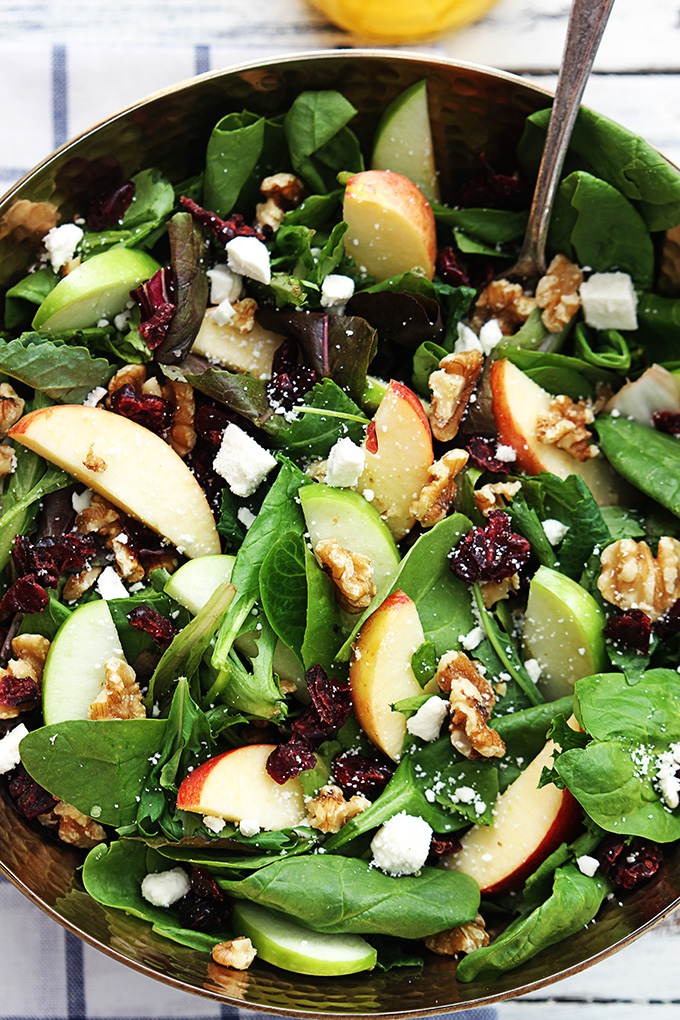 Apple Cranberry Walnut Salad Creme de la Crumb - If you are dreading the idea of cooking in a hot kitchen this summer, I've got you covered!  Take a look at these 30 refreshing summer salads! These recipes are easy, healthy and filling!  Keep reading to learn more!