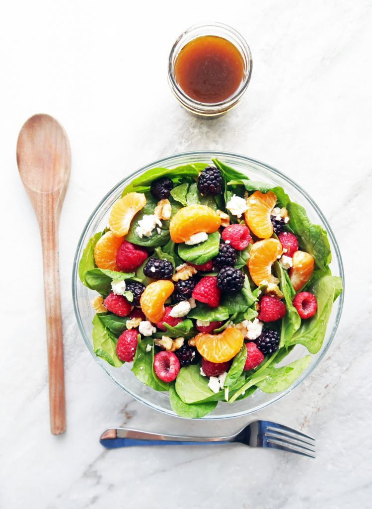Berry Orange Spinach Salad Yay for Food - If you are dreading the idea of cooking in a hot kitchen this summer, I've got you covered!  Take a look at these 30 refreshing summer salads! These recipes are easy, healthy and filling!  Keep reading to learn more!
