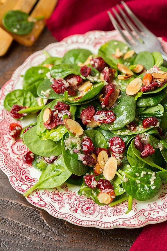Cranberry Almond Spinach Salad - If you are dreading the idea of cooking in a hot kitchen this summer, I've got you covered!  Take a look at these 30 refreshing summer salads! These recipes are easy, healthy and filling!  Keep reading to learn more!