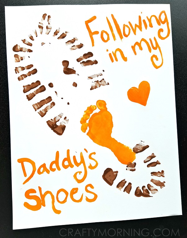 Following in My Dad's Shoes Canvas - I don't if anything warms the heart quite like a homemade gift from your kiddo! Father's Day is no exception - here are 25 homemade Father's Day gifts from kids  - and ones that Dad can actually use!  Keep reading to check them out!