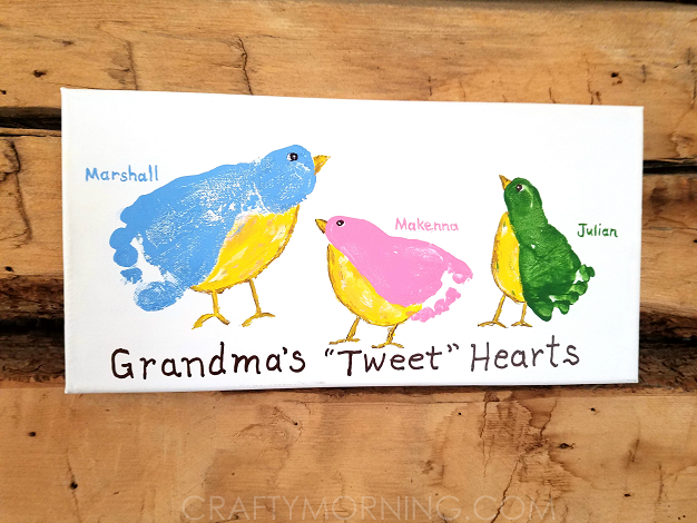 footprint bird picture craft for grandma - With Mother's Day right around the corner, we can't forget the special woman who started it all - Grandma! Kids are so fortunate if they have a grandma in their lives. These Mother's Day crafts for Grandma are such a heartfelt way to show her some well-deserved love!