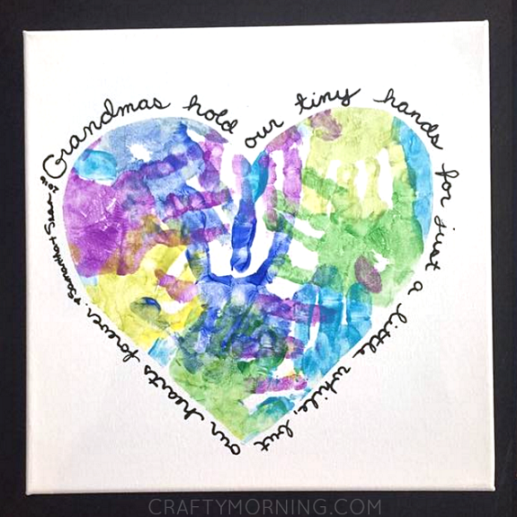 handprint grandma heart picture craft - With Mother's Day right around the corner, we can't forget the special woman who started it all - Grandma! Kids are so fortunate if they have a grandma in their lives.  These Mother's Day crafts for Grandma are such a heartfelt way to show her some well-deserved love!