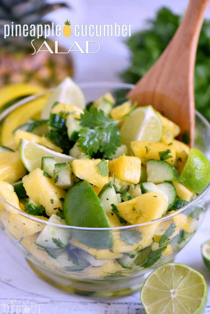 Pineapple Cucumber Salad Mom on Time Out - If you are dreading the idea of cooking in a hot kitchen this summer, I've got you covered!  Take a look at these 30 refreshing summer salads! These recipes are easy, healthy and filling!  Keep reading to learn more!