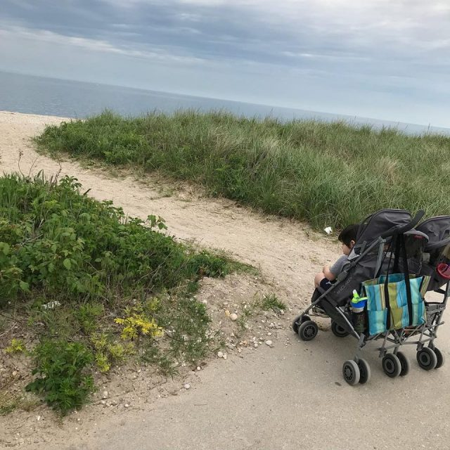 Double stroller parked by cloudy beach - Are you a busy mom wondering how to fit healthy habits into your too-full life?  It's easier than you think! Read on for 7 easy health tips to start today!