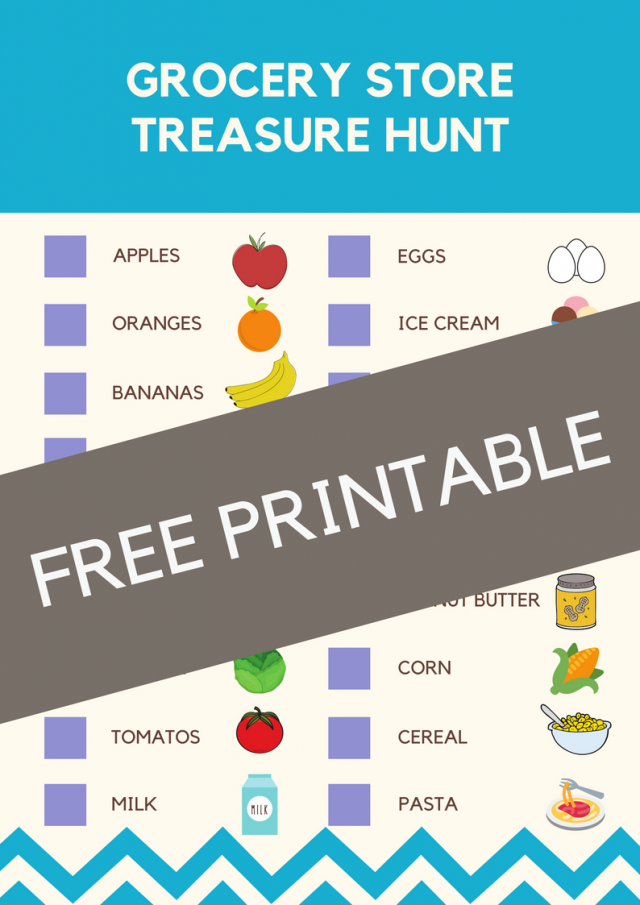 Grocery Story Treasure Hunt Activity for Kids - Looking for easy, no-prep activities to keep your kiddos busy? These easy treasure hunts for kids are perfect for you and them! Adaptable for all ages!