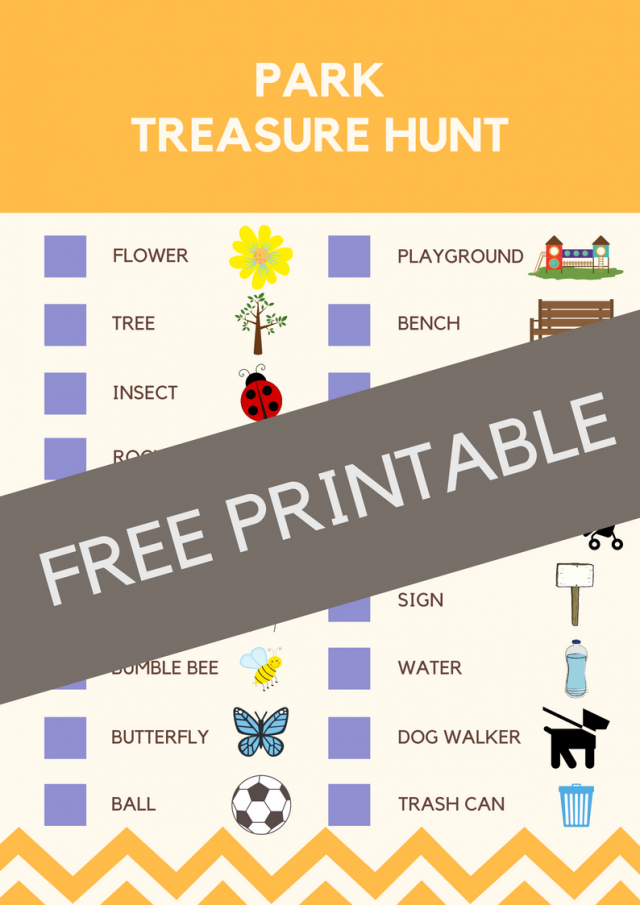 Park Treasure Hunt Activity for Kids - Looking for easy, no-prep activities to keep your kiddos busy? These easy treasure hunts for kids are perfect for you and them! Adaptable for all ages!