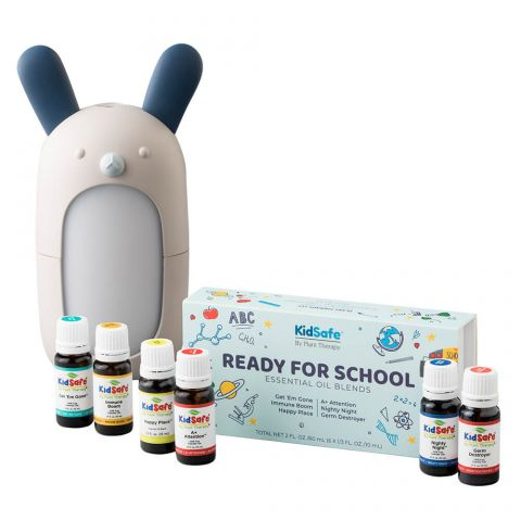 Plant Therapy Forest Friends Diffuser displayed with Ready for School Essential Oil Kidsafe Blends -a perfect gift for crunchy family and friends.