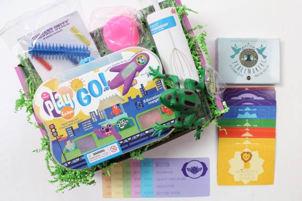 Sensory Theraplay Subscription Box for Kids with sensory issues, displayed with Play Go activities, colorful cards, activities and materials, head massager
