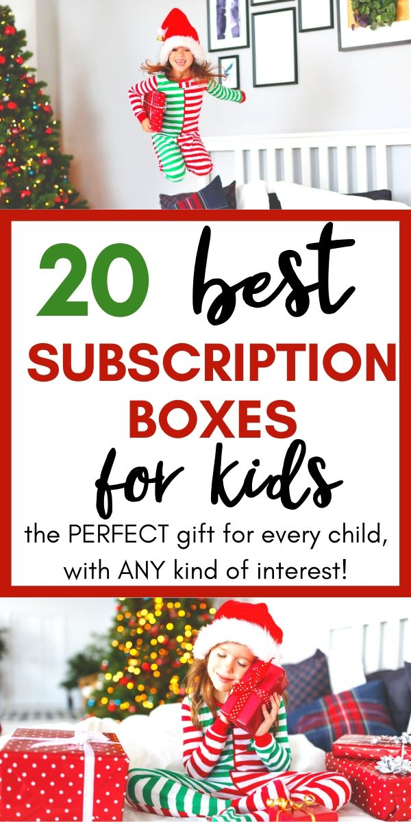 20 Best subscription boxes for kids image with kids jumping on beds with Christmas boxes. Subscription boxes make the perfect unique and meaningful gift