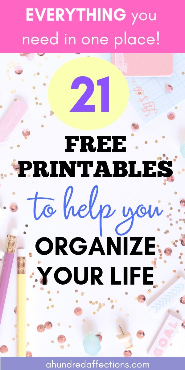 21 Free printable to help you organize your life, everything you need in one place, graphic, A Hundred Affections
