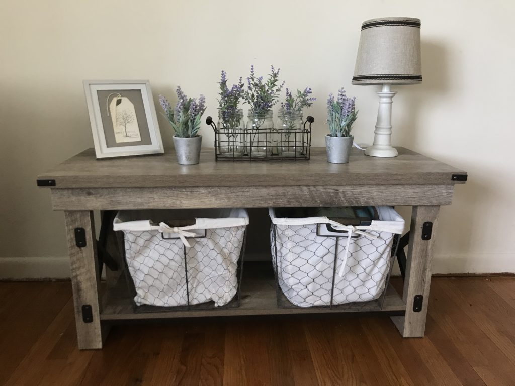 Farmhouse Styled Rustic Bench with Baskets from Big Lots