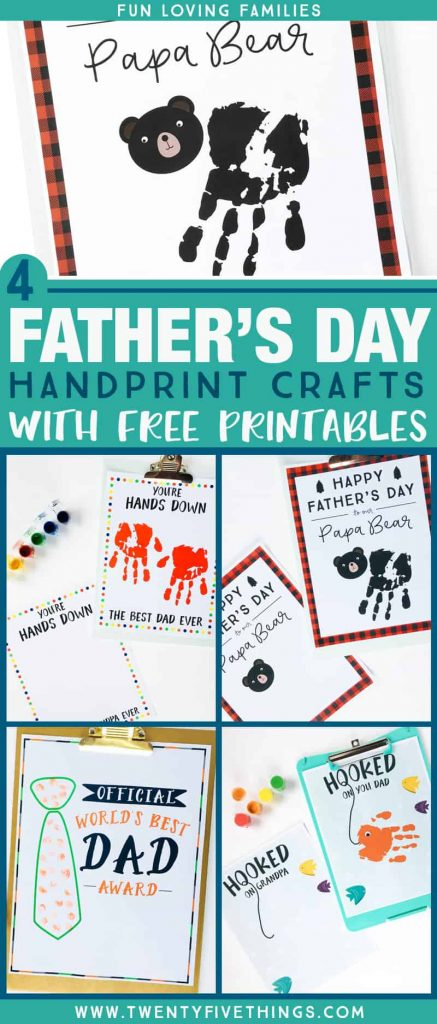 Collage Handprint Father's Day Card printables
