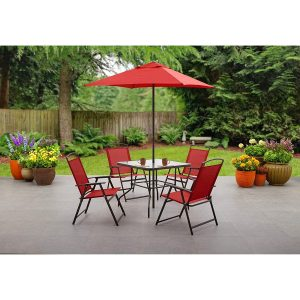 Mainstays Red umbrella and patio dining set with red chairs and glass table in patio garden