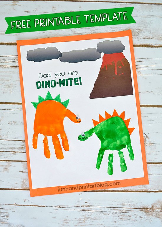 Dinosaur and volcano handprint free printable Father's Day Card