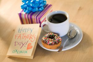 Happy Father's Day Card with coffee, donut, gift