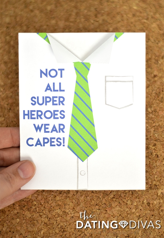 """Tie Card Father's Day Card Printable """"Not All Super Heroes Wear Capes"""""""