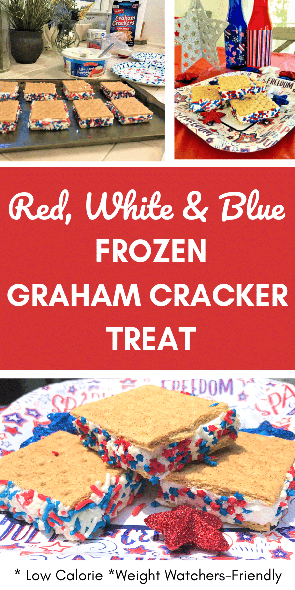 Red White Blue collage graham cracker sandwich table set