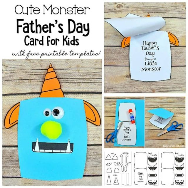 Collage of Cute Monster Father's Day Card with free template printables, blue cartoon monster with orange horn and ears with cute fang smile