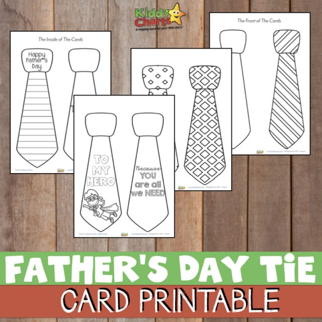 Image spread of free printable Father's Day card, Tie booklet for kids to color, To My Hero