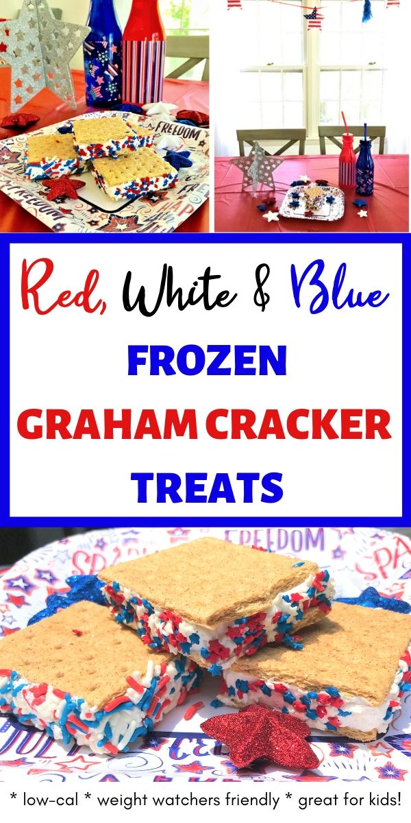 Red White Blue frozen graham cracker treat, collage of graham cracker treats with Cool Whip and patriotic sprinkles on 4th of July, Memorial Day table display
