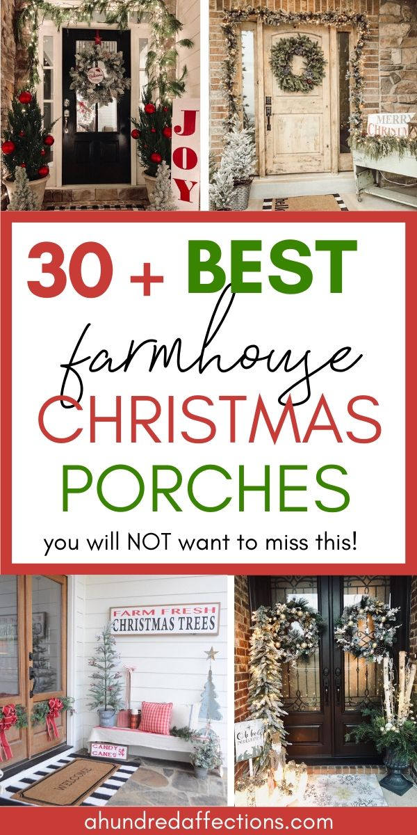Collage of 30 + best farmhouse Christmas porches on Instagram, decorated with flocked trees and wreaths, farmhouse Christmas signs, buffalo check rug, birch logs and branches - perfect Christmas rustic farmhouse porch decor inspiration!