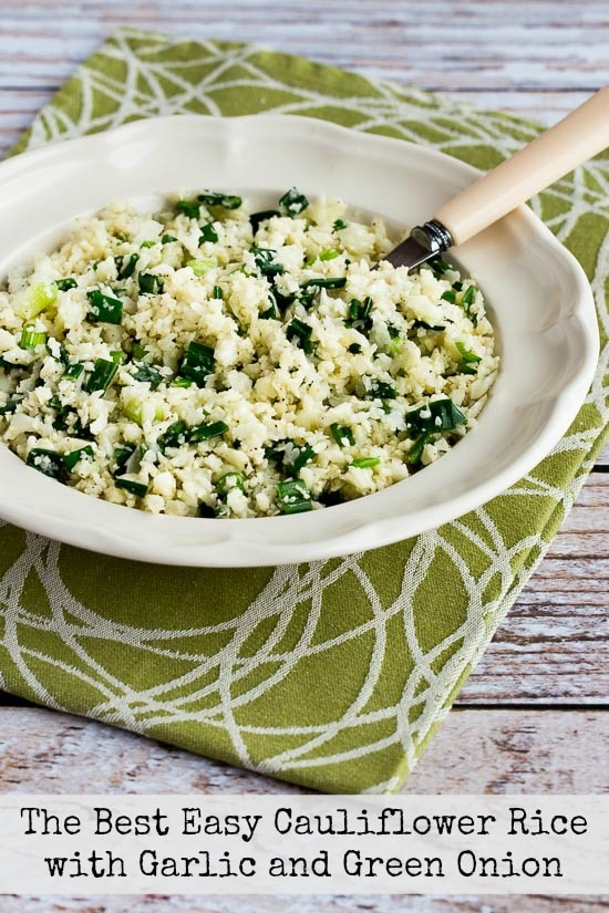 The Best Easy Cauliflower Rice with Garlic and Green Onion (Video)