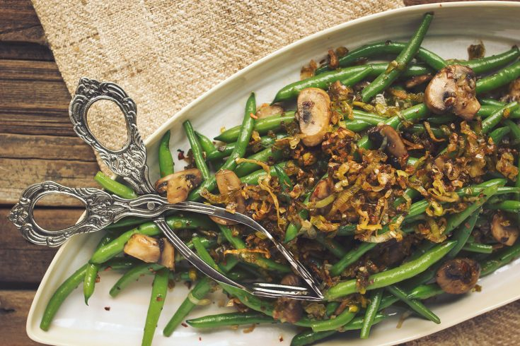 Sautéed Green Beans with Mushrooms and Caramelized Leeks Recipe