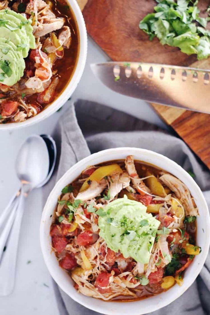 Crockpot Chicken Enchilada Soup (Paleo, Whole30 + Keto)
