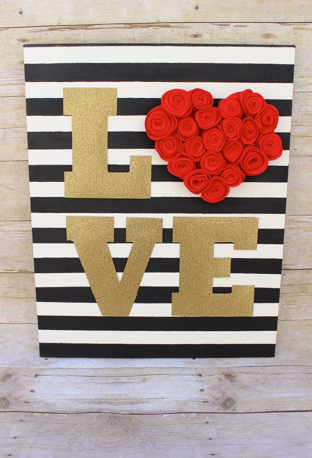Gold Glitter and Felt Rosette Love Sign