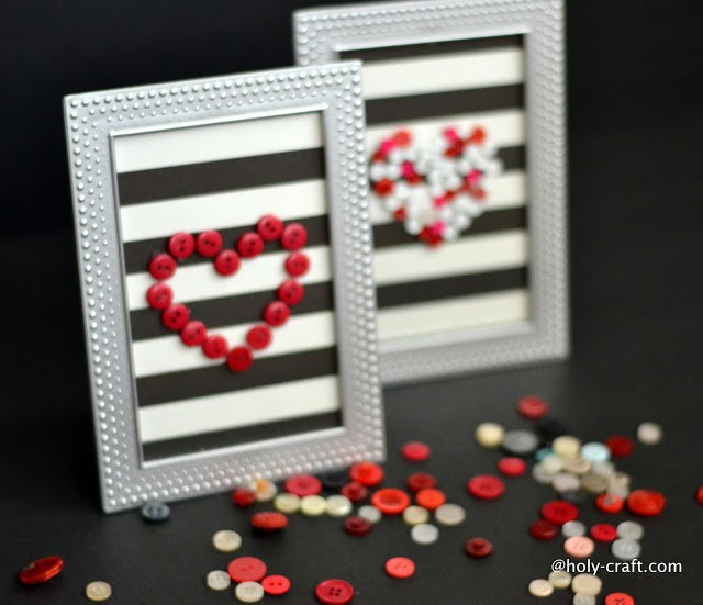 Valentine's Day Button Heart Framed Art Work